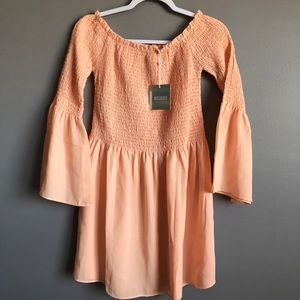 Misguided • Peach Off Shoulder Dress